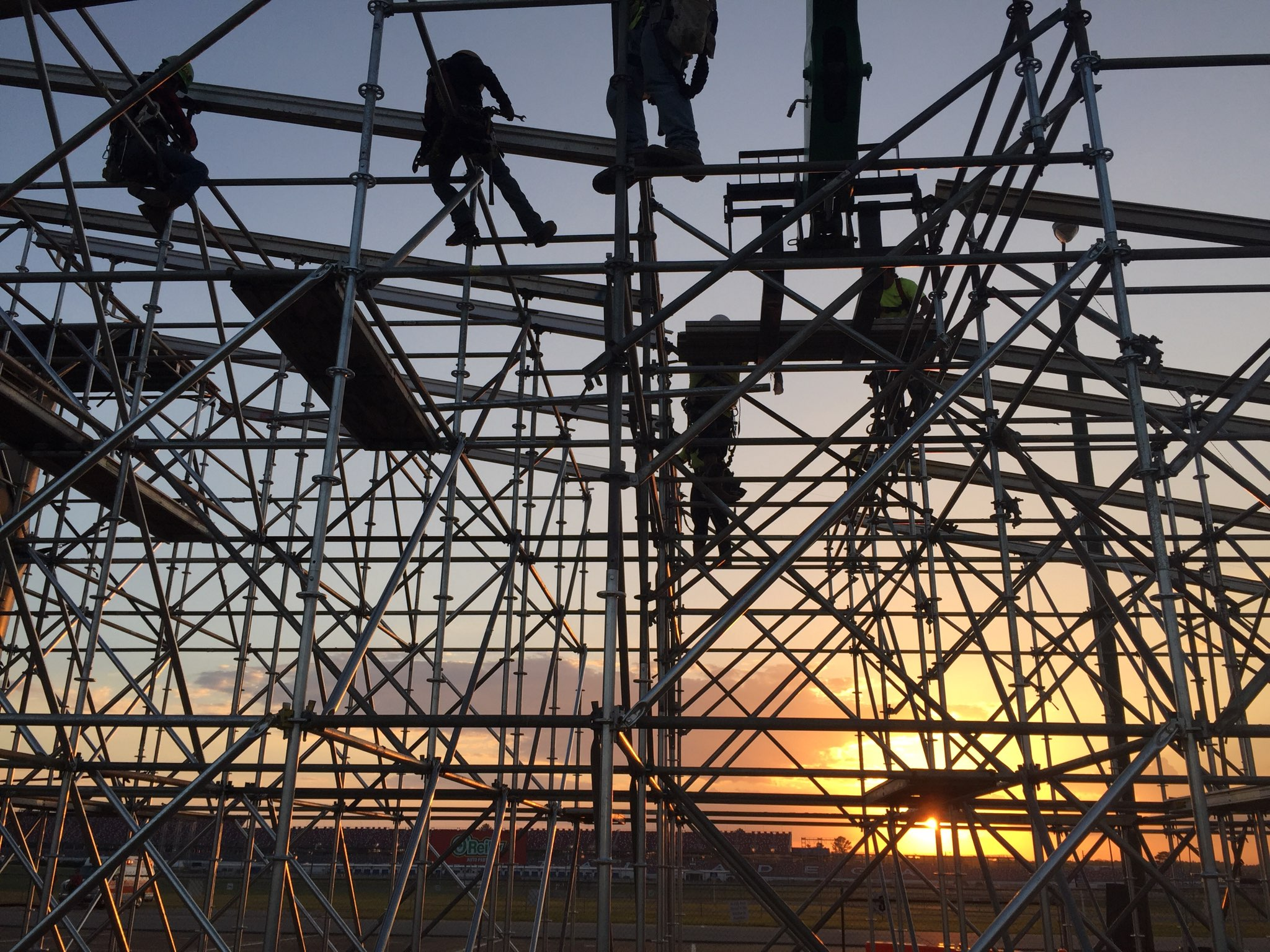 Sunset behind the scaffold at Talladega