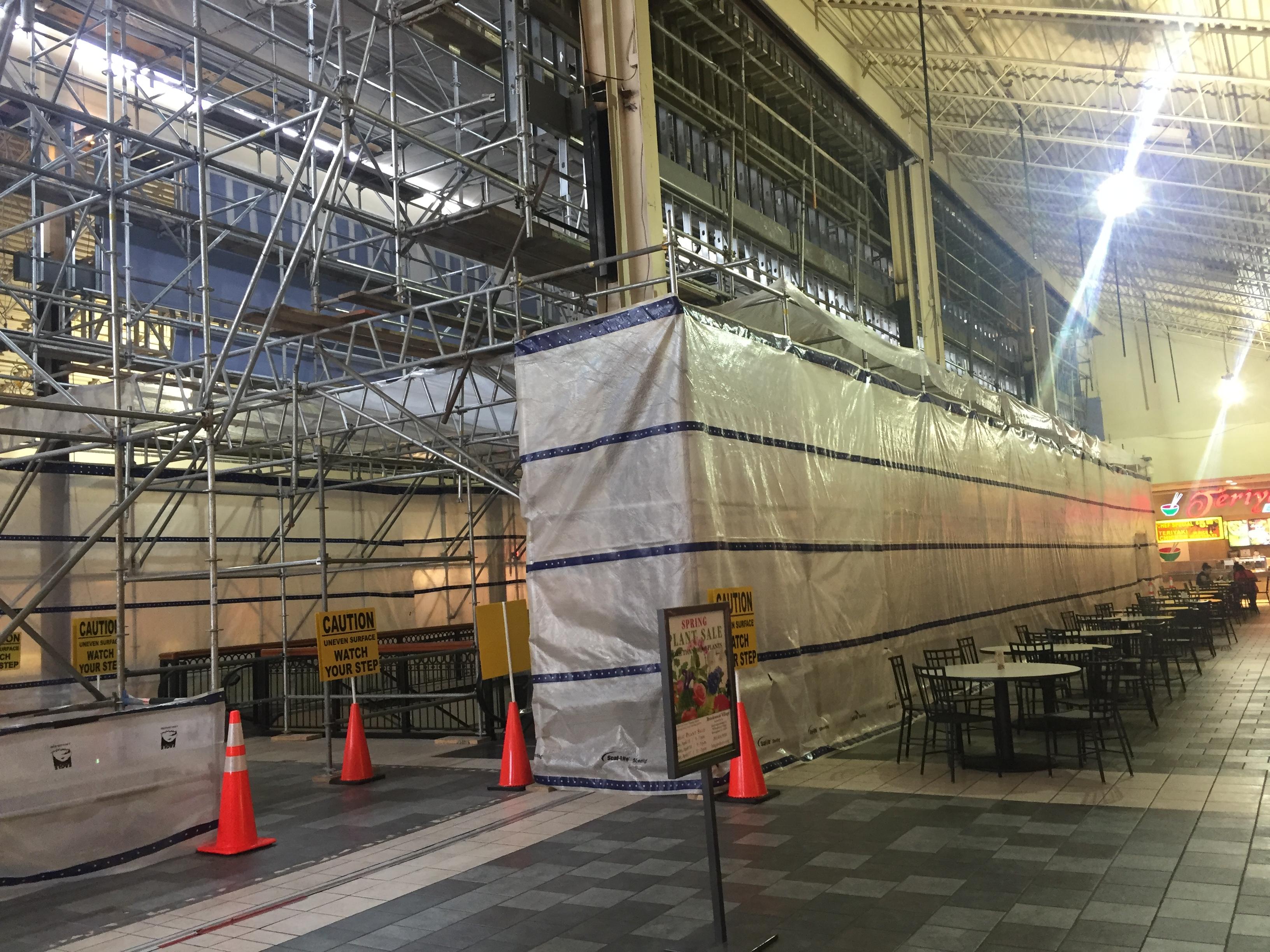 Brookwood Mall Renovation scaffold 8