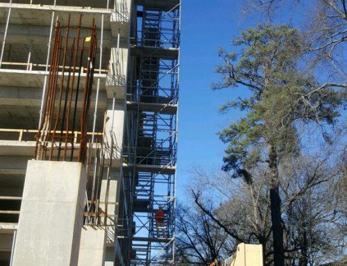 Tutwiller Parking Garage scaffold stair tower