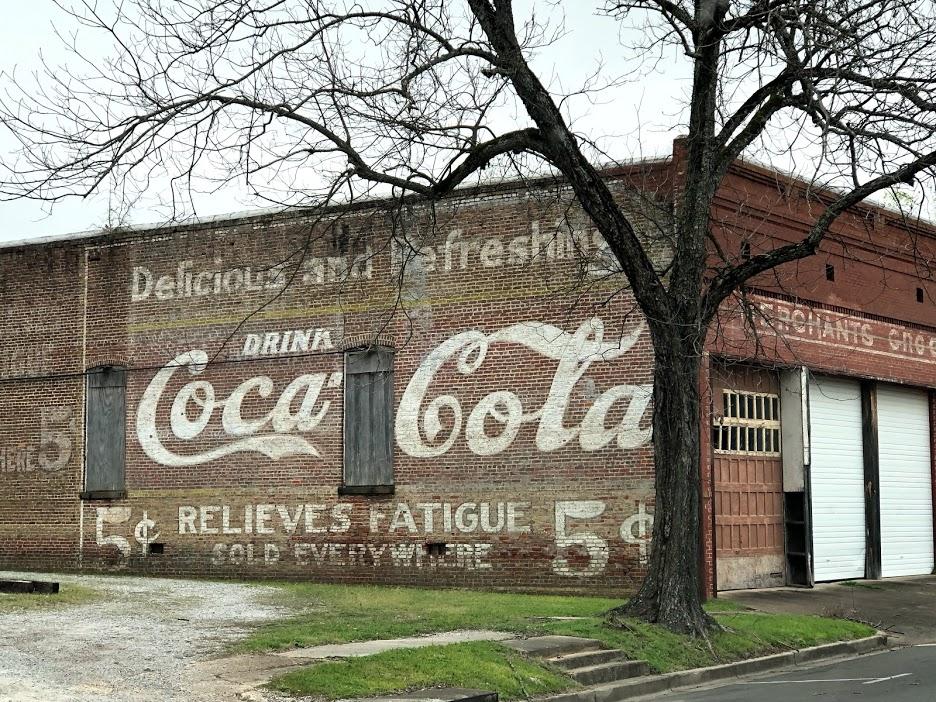Demopolis Coca Cola Sign shoring scaffold