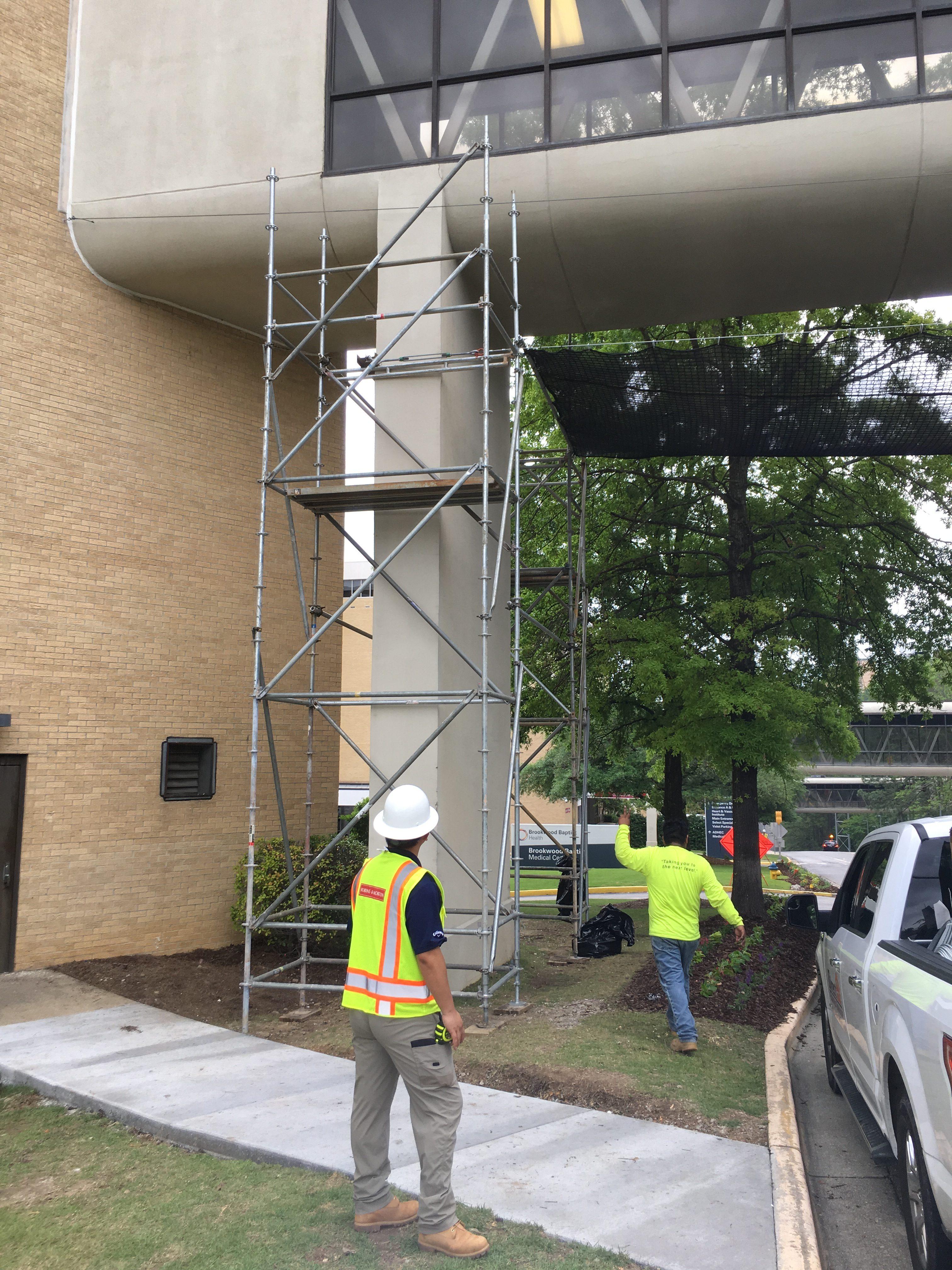 Brookwood Hospital crosswalk scaffold